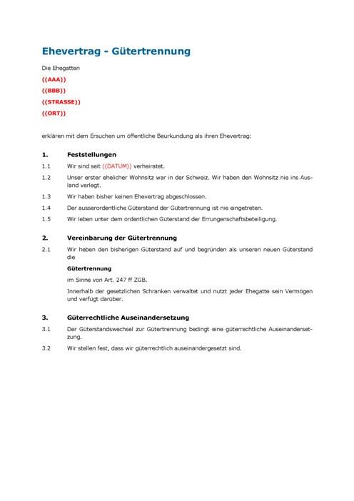 Muster Ehevertrag Gütertrennung Mustervertrag Musterverträge